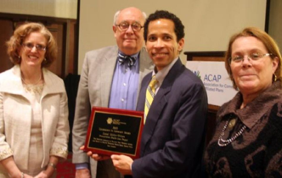 PHLP Executive Director Laval Miller-Wilson is presented with the Leadership in Advocacy Award. Photo courtesy of Association for Community Affiliated Plans (ACAP).