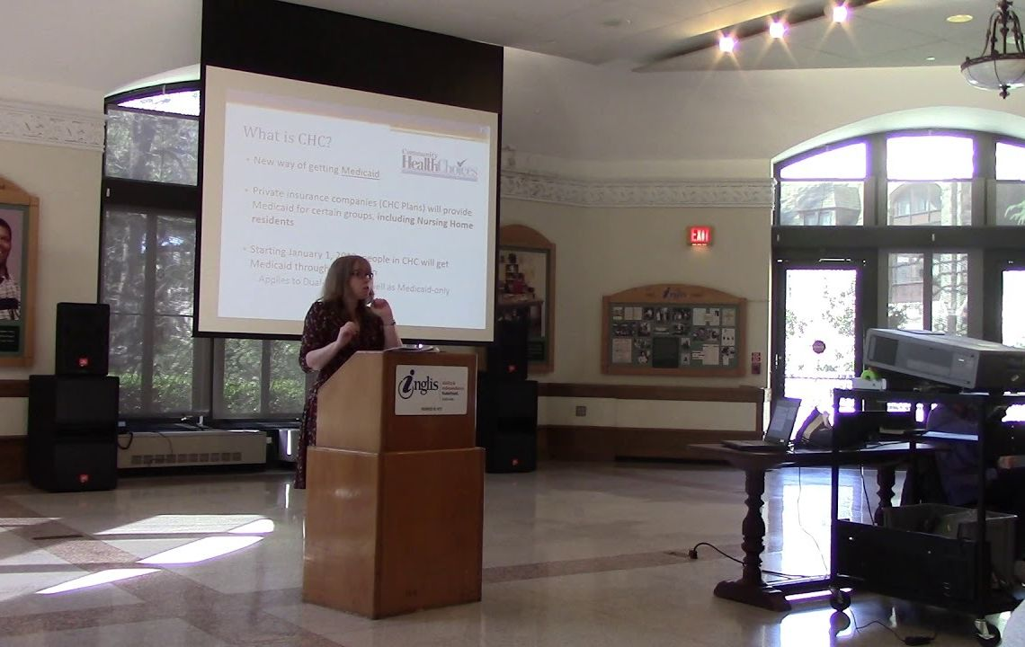 PHLP attorney Amy Lowenstein presenting at Inglis House