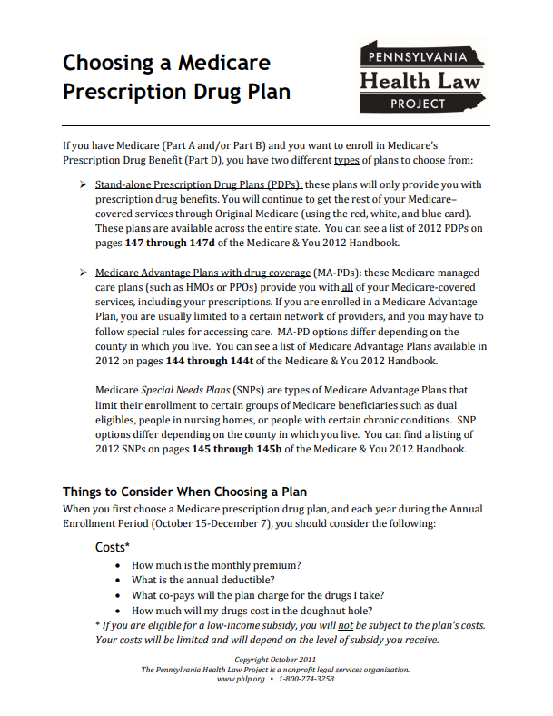 choosing a medicare prescription drug plan 2012 thumbnail
