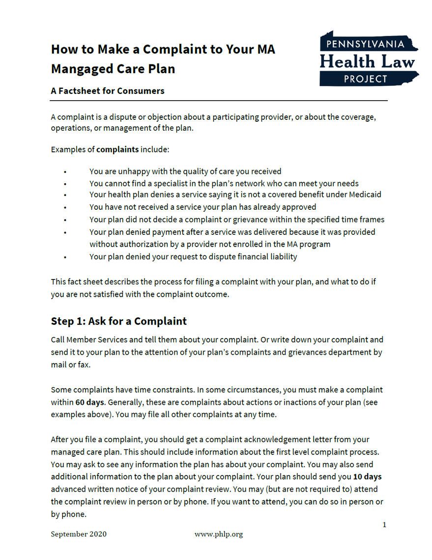 complaint fact sheet cover
