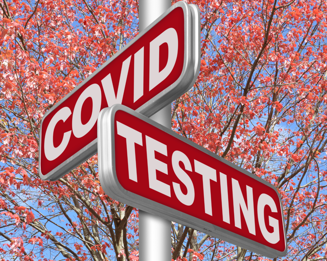 "A sign reads ""COVID testing."""
