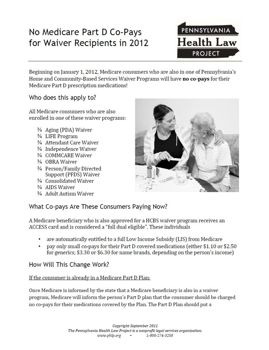 no medicare part d co pays for waiver recipients in 2012